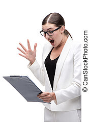 Frustrated young business woman looking at folder and screaming