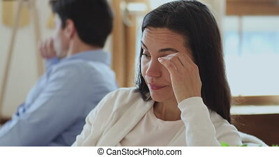 Frustrated young woman feeling stressed after conflict with ...