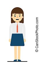 Frustrated young woman in uniform character