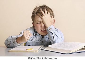 Child showing frustration, impatience, etc