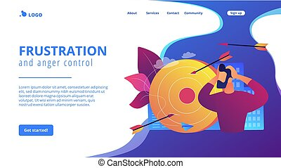 Frustration concept landing page