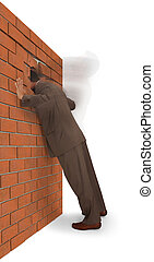frustration - Man slamming his head into a brick wall, ...
