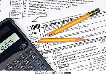 Frustration of filing taxes - A tax form, calculator, broken...