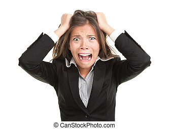 Frustration. Frustrated and stressed young businesswoman in...