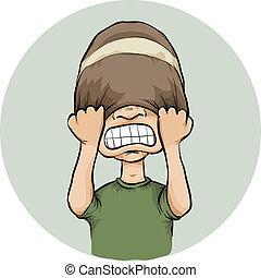Frustration Toque - A cartoon man pulls his toque over his...