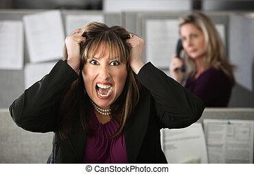 frustrato, lavoratore, ufficio