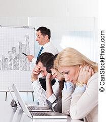 frustrato, personale, riunione, affari