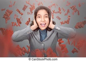 frustrer, asian branche, kvinde, hos, fald, skat, tekst