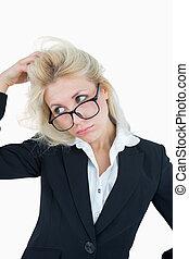 frustrer, kvinde branche, rive hovede