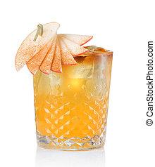 fruta, álcool, coquetel, com, maçã, e, vara canela, isolado