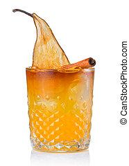 fruta, álcool, coquetel, com, pêra, e, vara canela, isolado