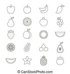 fruta, ícones, linha, jogo, de, vetorial