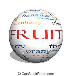 fruta, 3d, esfera, palabra, nube, concepto