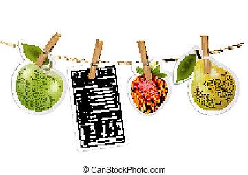 fruta, adesivos, e, um, rótulo nutrição, pendurar, um, rope., vector.