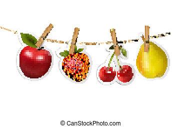 fruta, adesivos, pendurar, um, rope., vector.