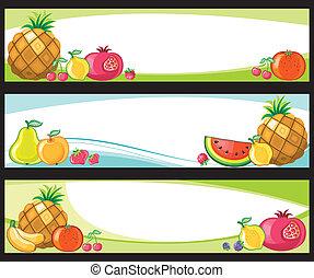 fruta, banners.