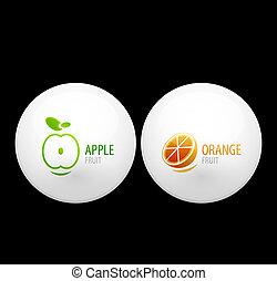 fruta, botões