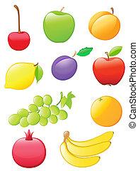 fruta, brillante, iconos
