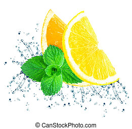 fruta cítrica, agua, salpicadura
