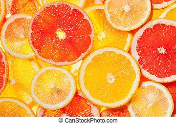 fruta cítrica, coloridos, fatias