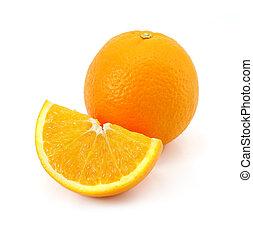 fruta cítrica, naranja, fruta, whi, aislado
