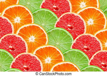 fruta cítrica, plano de fondo, rebanadas