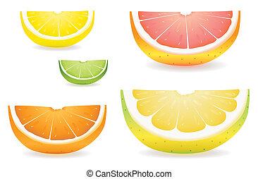 fruta cítrica, rebanada, variedad