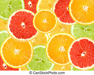 fruta cítrica, resumen, plano de fondo, rebanadas