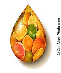 fruta cítrica, símbolo, fruta