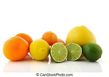 fruta cítrica, surtido, fruta