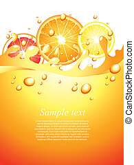 fruta cítrica, vector, jugoso, plano de fondo, salpicaduras
