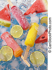 fruta, cal, sandía, rebanadas, chupete helado
