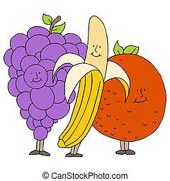 fruta, caricatura, caráteres