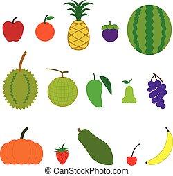 fruta, caricatura, estilo