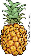 fruta, caricatura, ilustração, abacaxi