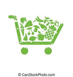 fruta, carro shopping