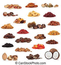 fruta, colección, nuez