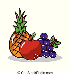 fruta, colheita, pineapplee, uvas, maçã