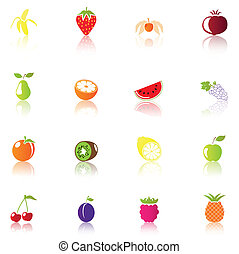 fruta, coloridos, ícones, 16