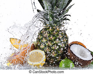 fruta, com, água, respingo