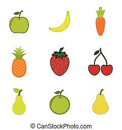 fruta, conjunto, blanco, plano de fondo