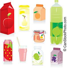 fruta, contenedores, aislado