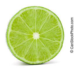 fruta, cutout, fundo, isolado, metade, cítrico, lima, branca