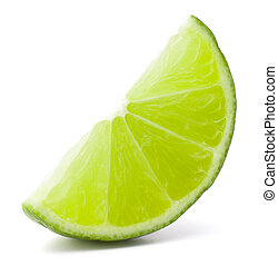 fruta, cutout, segmento, fundo, isolado, cítrico, lima, branca