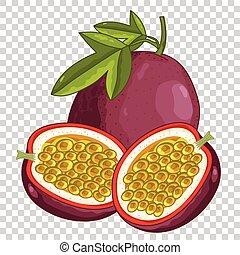 fruta de pasión, aislado, vector.