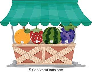 fruta, dosificador, estante
