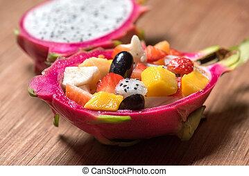 fruta, dragonfruit, madeira, fundo, salada