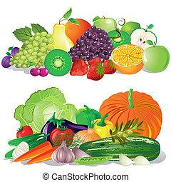 fruta, e, legumes