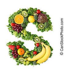 fruta, e, vegetal, alfabeto