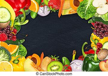 fruta, e, vegetal, quadro